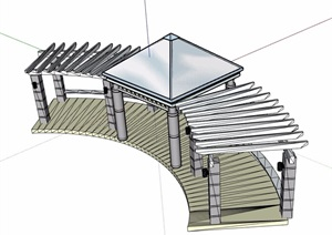 详细的景观廊亭素材设计SU(草图大师)模型