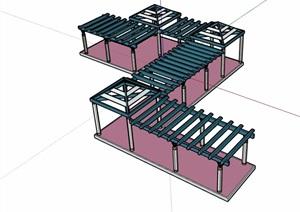 园林景观详细的廊架亭素材SU(草图大师)模型