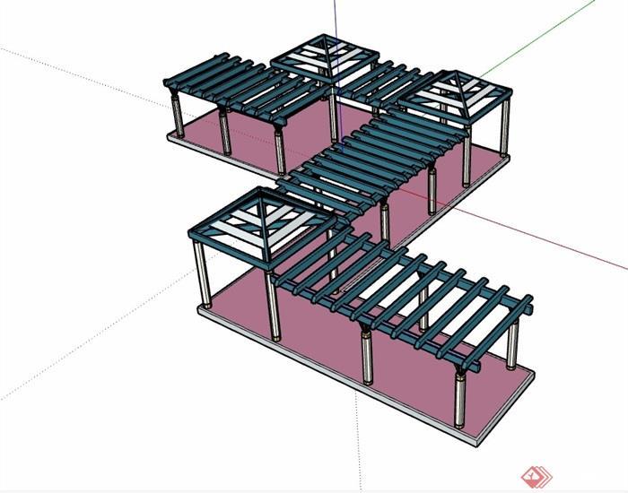 园林景观详细的廊架亭素材su模型