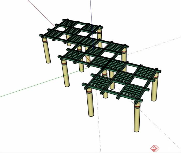 经典详细的完整廊架素材su模型