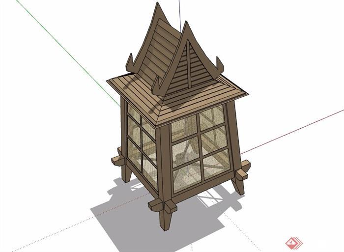 东南亚风格详细的灯饰素材设计su模型