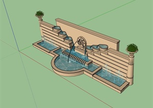 欧式详细的水池景墙素材设计SU(草图大师)模型
