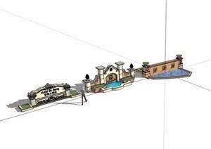 三种不同的详细景观墙素材设计SU(草图大师)模型