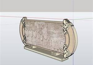 某详细的完整文化景墙素材设计SU(草图大师)模型