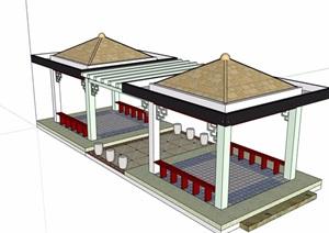 某整体详细的完整亭廊素材设计SU(草图大师)模型