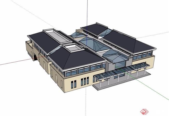 会议中心办公多层建筑设计su模型