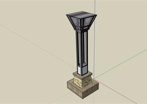 园林景观详细的灯柱素材SU(草图大师)模型