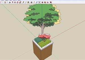 园林景观详细的种植树池素材SU(草图大师)模型