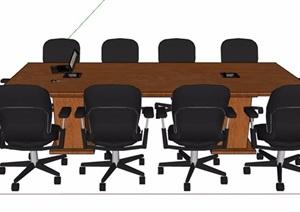 现代风格长形会议桌椅素材SU(草图大师)模型