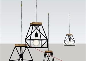4组现代北欧风吊灯素材SU(草图大师)模型