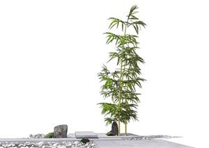 新中式景观小品 竹子 石头组合SU(草图大师)模型