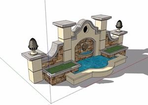 欧式详细的完整水池景墙素材SU(草图大师)模型