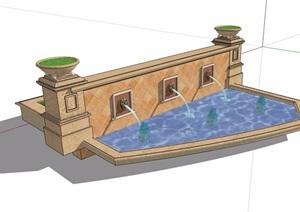 园林景观详细的喷泉水池景墙素材SU(草图大师)模型