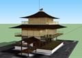 日式风格三层观景楼设计su模型