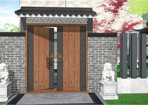 新中式庭院(院门、凉亭、水景、山石)