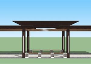 新中式廊架(新中式铺装、新中式坐凳)