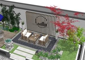 新中式天井空间(遮阳伞、藤编沙发茶几、新中式景墙、中式水钵、中式花墙)