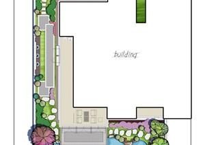 小庭院彩色平面图PSD文件