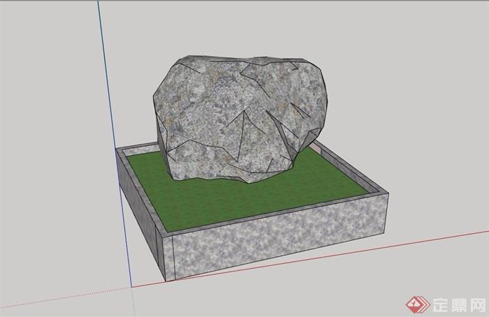 园林景观石头设计su模型