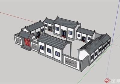 中式四合院文化馆建筑设计su模型