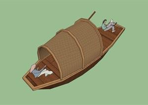 详细的船只素材设计SU(草图大师)模型
