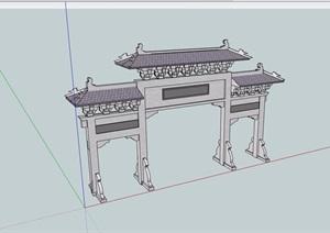 古典中式风格详细的牌坊门素材设计SU(草图大师)模型