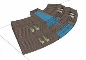 园林景观详细的台阶及水池设计SU(草图大师)模型
