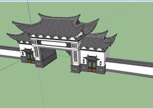 古典中式风格详细的围墙大门建筑SU(草图大师)模型
