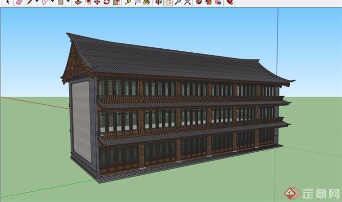 中式详细的完整商业楼设计su模型