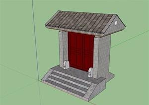 中式庭院大门素材SU(草图大师)模型