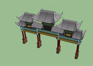 古典中式独特详细大门SU(草图大师)模型