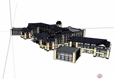 某酒店详细的多层建筑设计su模型