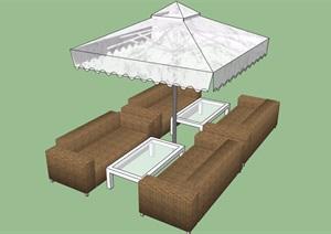 详细的休闲伞桌椅素材设计SU(草图大师)模型