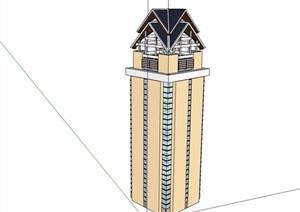 东南亚风格观景塔素材设计SU(草图大师)模型