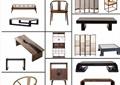 21款古典中式茶几、沙发、边柜等家具psd格式