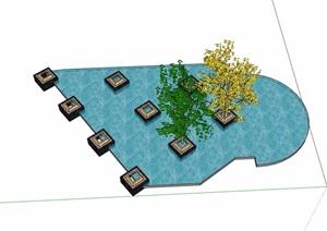 园林景观水池及树池设计SU(草图大师)模型
