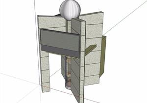 现代详细独特造型的门卫室素材设计SU(草图大师)模型