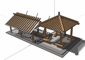 详细的凉亭组合详细设计SU(草图大师)模型