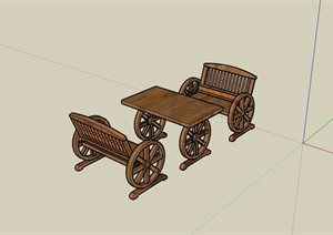 园林景观防腐木桌椅素材设计SU(草图大师)模型