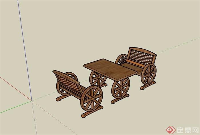 园林景观防腐木桌椅素材设计su模型