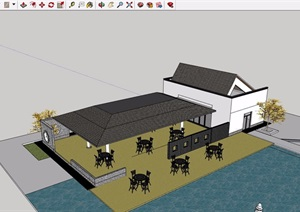 某中式详细的单层餐饮建筑SU(草图大师)模型
