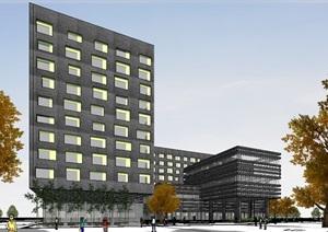 现代创意深色石材幕墙表皮国际商务酒店商业会所
