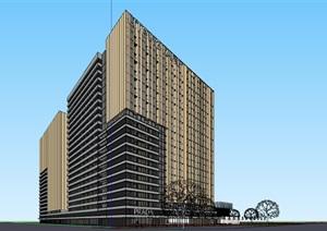现代创意金属格栅高层住宅公寓楼