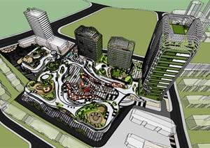 现代创意金属格栅外表皮高层住宅公寓楼配套参数化曲线式商业购物中心综合体