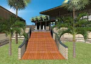 现代创意新中式钢木结构大挑檐屋顶售楼处会所活动中心