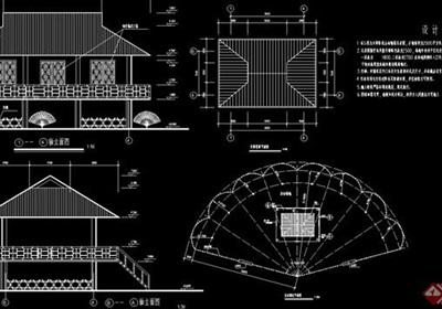 某山地动物园孔雀竹楼建筑cad施工图