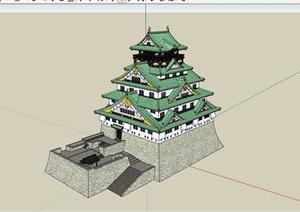 日式多层寺庙旅游建筑设计SU(草图大师)模型