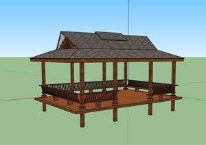 古典中式详细的完整亭子素材SU(草图大师)模型