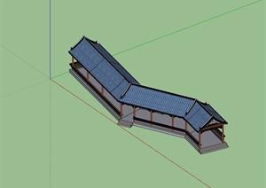 古典中式详细的完整长廊亭素材设计SU(草图大师)模型