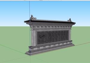 古典中式详细的完整景观墙素材设计SU(草图大师)模型